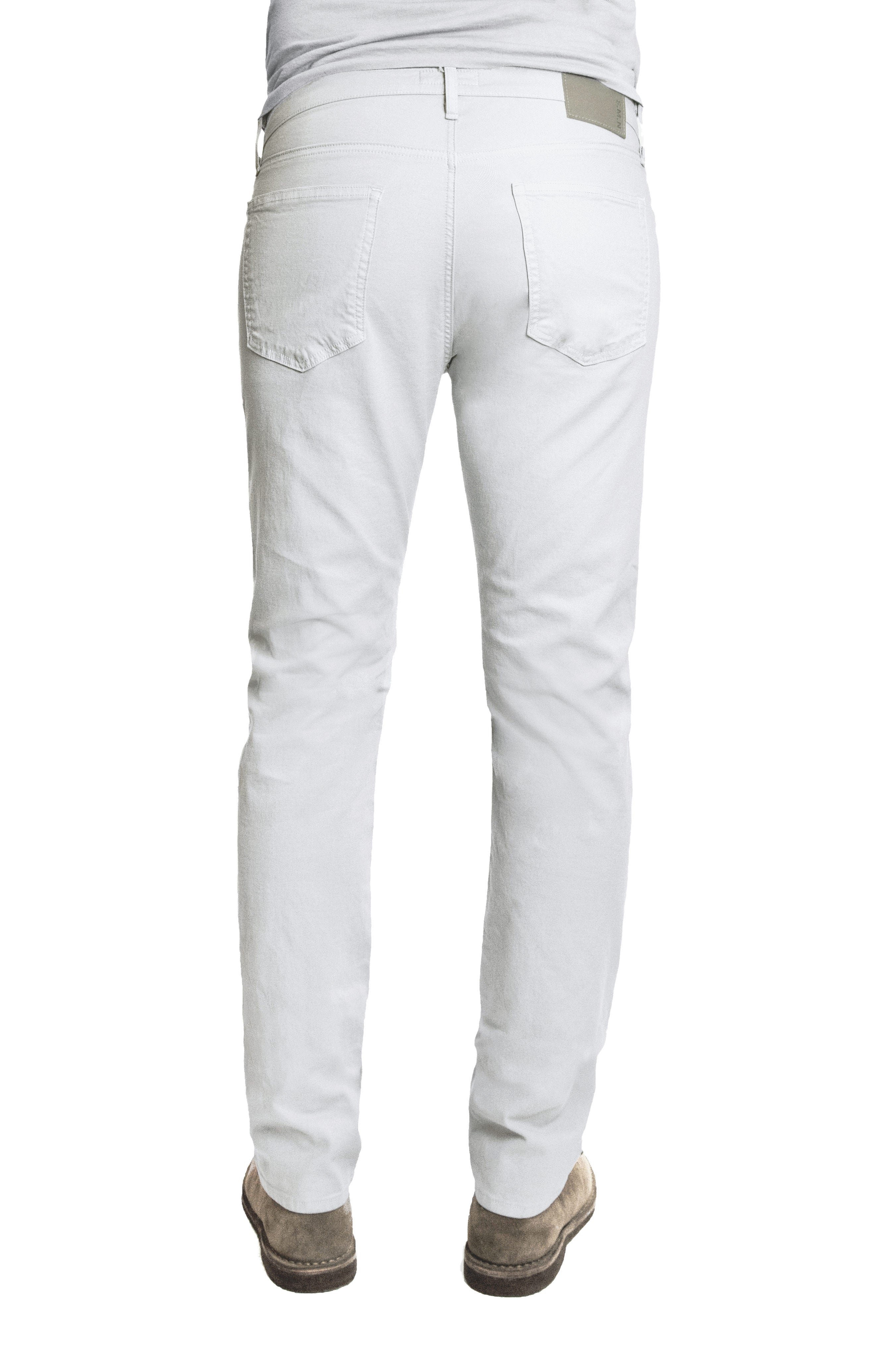 Back of S.M.N Studio's Hunter in White Men's Jeans - A slim fit white jean in a comfort stretch denim