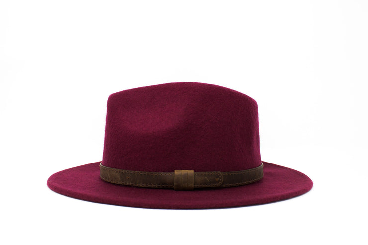 Fedora Hats - Burgundy - Wool Felt