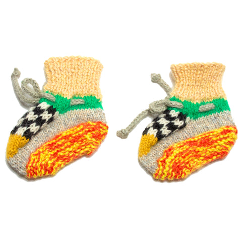 Vintage Taxi Checker Hand Knit Booties