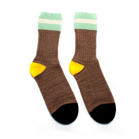 PREORDER Chestnut Striped Rib Socks