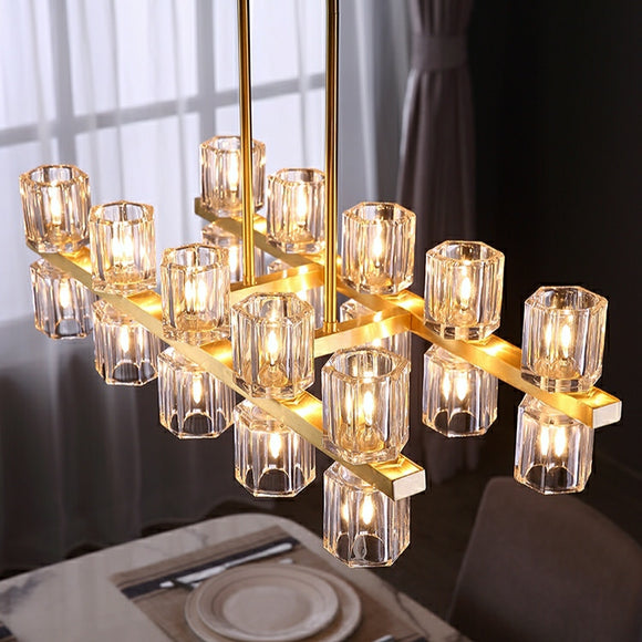 10/20-Lights Long Strip Pure Brass Crystal Chandelier Pendant Lighting Kitchen Island G4
