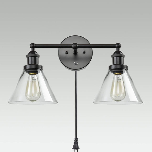 1/2-Lights Plug in On/Off Switch Wall Sconce with Funnel Flared Clear Glass Shade Vintage Industrial Wall lamp Light Fixture
