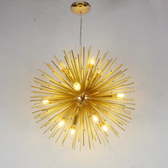 12-Lights Modern Sputnik Gold Globe Metal Chandeliers Firework Northern Europe Vintage Candle E12 E14 Bulb Base