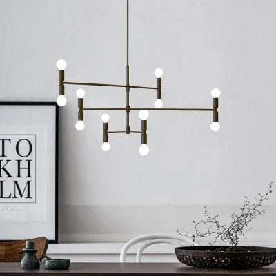 12-Lights Sputnik Pendant Light Chandelier Cluster Ambient Light Electroplated Metal 110-240V Bulb Included - heparts