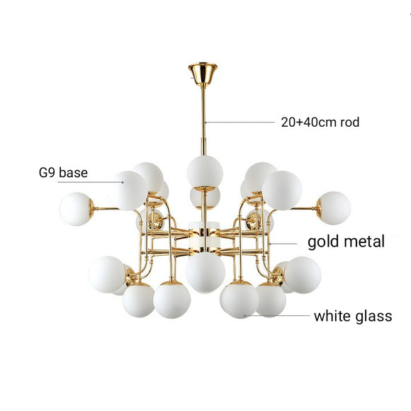 12/16/24 Lights Luxury Sputnik Magic Glass Gold Chandelier Candle-style European Modern Lights LED G9 Base