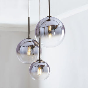 1/3-Lights Color Gradient Pendant Light Fixture Glass Globe Electroplated Modern