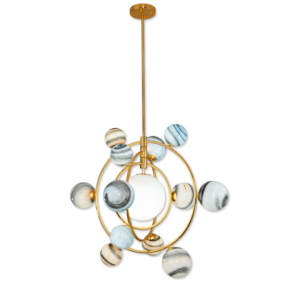 Cosmic space 7/13-Sputnik Chandelier Ambient Light Metal Globe Glass Candle Style LED G9 - heparts