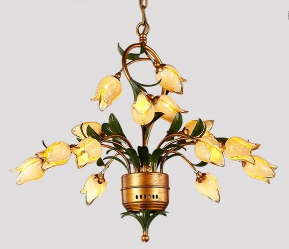 15/21 Lights Retro Iron Gold Tulip Glaze Shade Chandeliers G4 LED - heparts