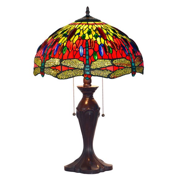 Grape Tiffany Table Lamps Vintage Stained Glass -Home Decor D16H24 Inch - heparts