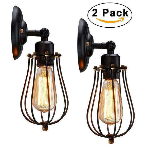 2 Pack Mini Style Retro Sconces Ambient Light Electroplated Metal E26/E27 Edison Bulb - heparts