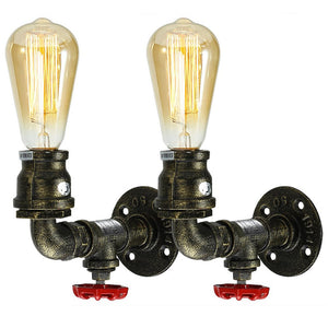 1-light Vintage Water Pipe Wall Lamp Bar Restaurant Iron Industrial Style E26 E27 Edison Bulbs Retro Lamp - heparts