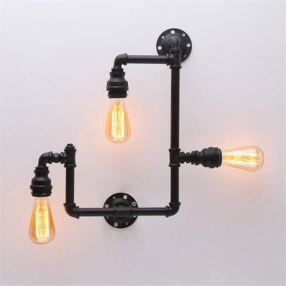 Loft Vintage Water Pipe Wall Lamp 4-Lights Bar Restaurant Iron Industrial Style E26 E27 Edison Bulbs Retro Wall Sconce Lamp - heparts