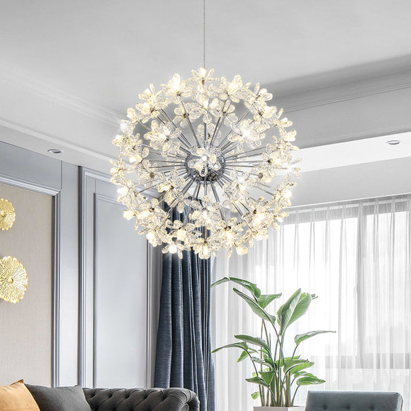 18/24/32/64 Lights Crystal Flower Chandelier Pendant Light Luxury Creative LED G4