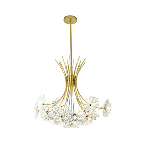 19-Lights Gold Crystal Chandelier Vintage Ambient Light Electroplated Metal G4 - heparts