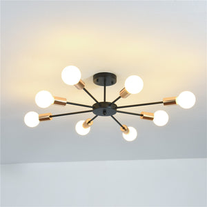 8-lights Vintage Metal Semi Flush Mount Ceiling Light E26/E27 LED