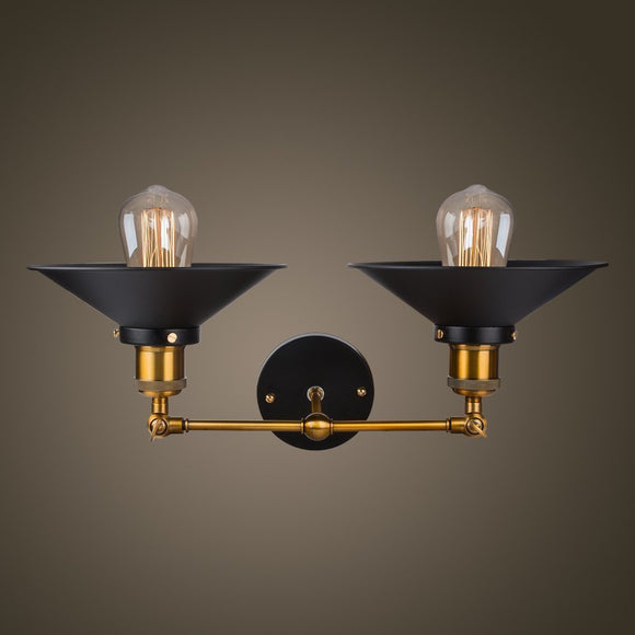 2-Lights Wall Sconce with Funnel Flared Shade Vintage Industrial Wall lamp Light Fixture