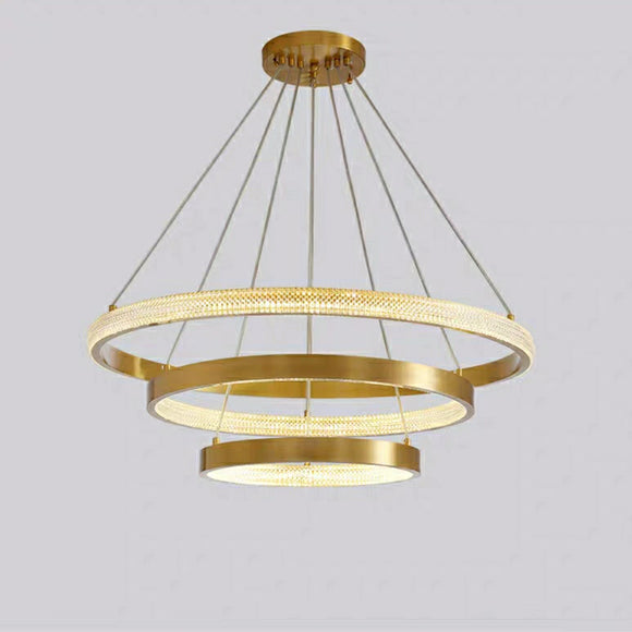 2020 New Copper 3-Lights Circular Pendant Light Chandelier Lighting Lamp Ambient Light LED