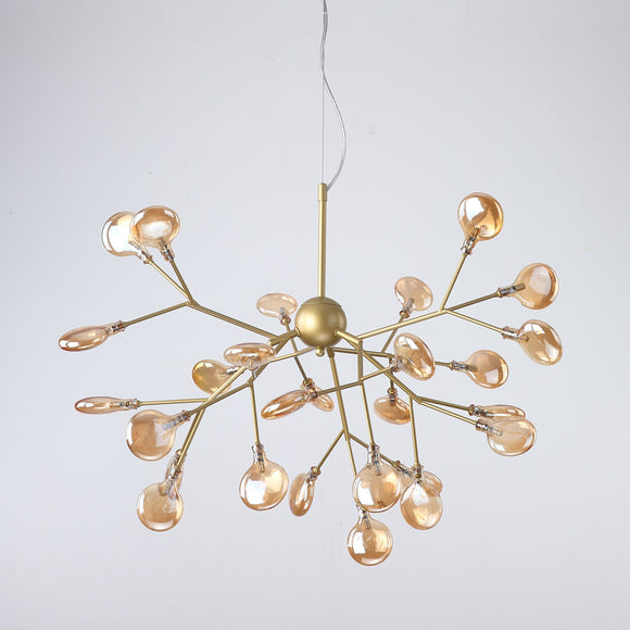 27-Lights Shell Glass Novelty Sputnik Chandelier Ambient Light Painted Finishes Metal Glass Creative Bulb Included G4 - heparts