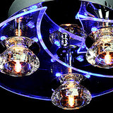 3-Light Flush Mount Ambient Light Electroplated Metal Crystal LED Integrated / G4