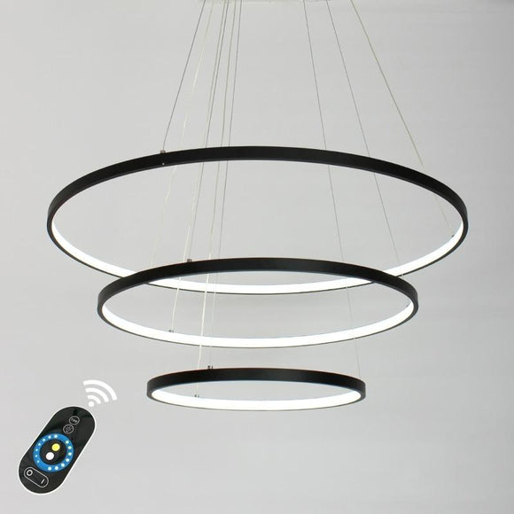 Oversized 48*40*32 inch 3-Lights Circular Pendant Light Chandelier Lighting Lamp Ambient Light Dimmable Remote Control