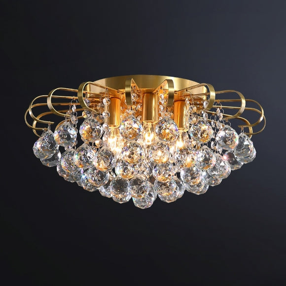 3/5 lights Solid Copper Crystal Ceiling Lamp Modern Simple Chandeliers Flush Mount E12/E14 Fixtures Round Gold