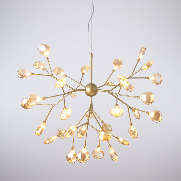 36-Lights Shell Glass Novelty Sputnik Chandelier Ambient Light Painted Finishes Metal Glass Creative Bulb Included G4