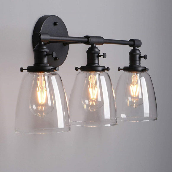 3 Lights Glass Bathroom Vanity Lighting Industrial Bell Shape Wall Sconces