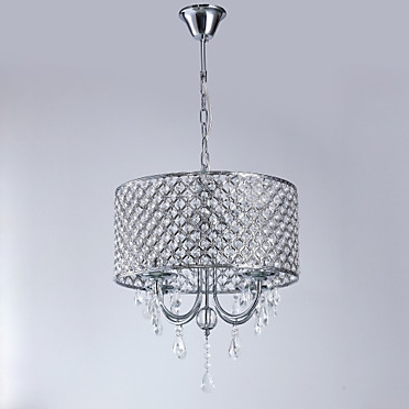 4-Light Drum Chandelier Chrome Metal Crystal 110-120V Warm White Bulb Not Included E12 - heparts