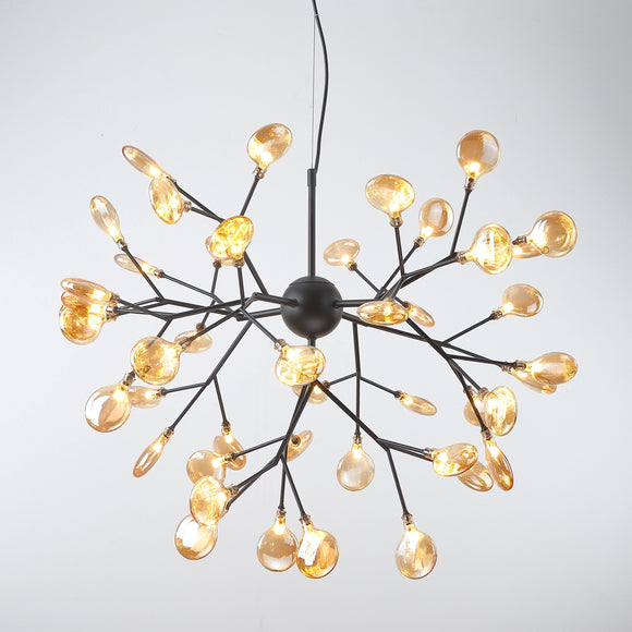 45-Lights Shell Glass Novelty Sputnik Chandelier Ambient Light Painted Finishes Metal Glass Creative Bulb Included G4 - heparts