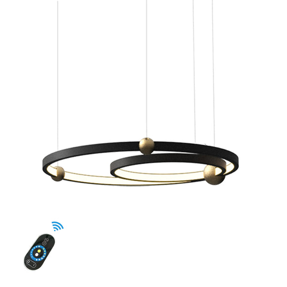 New 2-Lights Circular Pendant Light Chandelier Lighting Ambient Light - LED Dimmable Remote Control