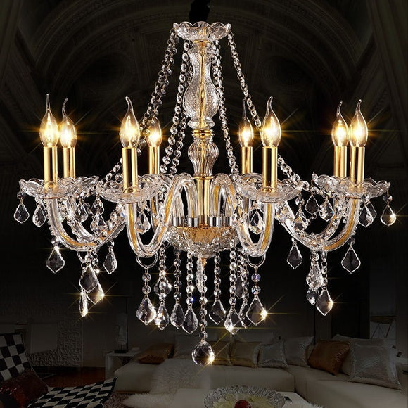 6-10-Lights Amber Glass Crystal Candle-style Chandelier Up-light Electroplated 110-240V E12-E14