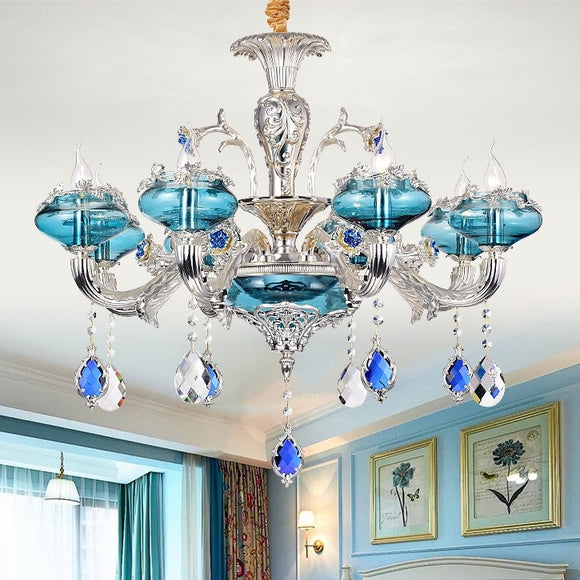 6-10-Lights Heart of the Sea Glass Crystal Candle-style Chandelier Up-light Electroplated 110-240V E12-E14