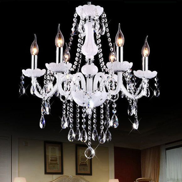 6-10-Lights White Glass Crystal Candle-style Chandelier Up-light Electroplated 110-240V E12-E14