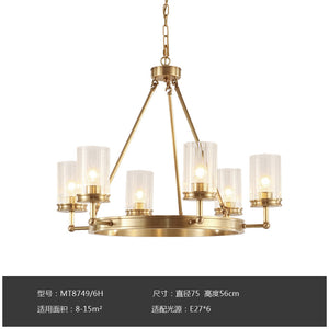 6-10lights Solid Copper Pendant Lighting Glass E26E27