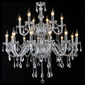 6-18-Lights Clear Glass Crystal Candle-style Chandelier Up-light Electroplated 110-240V E12-E14 - heparts