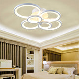 6-Head LED Integrated Modern Style Simplicity Acrylic Ceiling Lamp Flush Mount Light Fixture - heparts