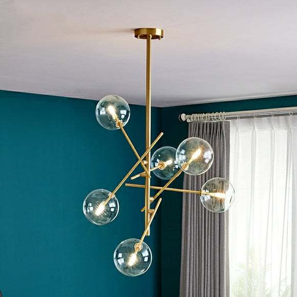 6-Lights Molecular Ball Pure Copper Glass Chandelier Pendant Lighting Kitchen Island G4