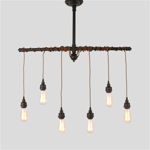 6-Lights Rustic Industrial Black Metal Hanging Pendant Light E26/E27 - heparts