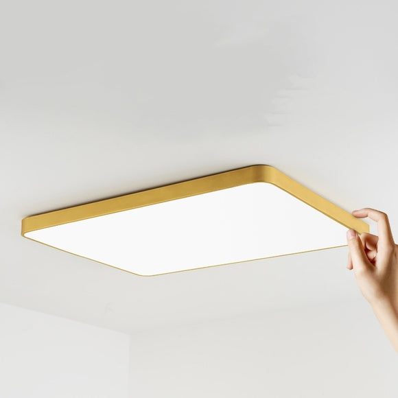 60*40cm Flush Mount Rectangle Lights Downlight Solid Brass PVC Acrylic Mini Style, LED Integrated