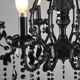 6/8-Lights Black Glass Crystal Candle-style Chandelier Up-light Electroplated 110-240V E12-E14