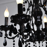 6/8-Lights Black Glass Crystal Candle-style Chandelier Up-light Electroplated 110-240V E12-E14 - heparts