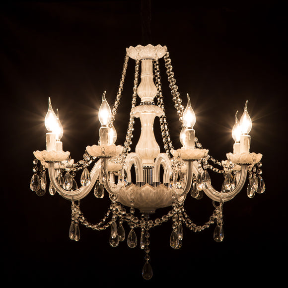 8-Lights White Glass Crystal Candle-style Chandelier Up-light Electroplated 110-240V E12-E14