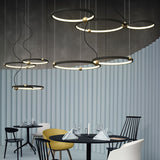 New 2-Lights Circular Pendant Light Chandelier Lighting Ambient Light - LED Dimmable Remote Control - heparts