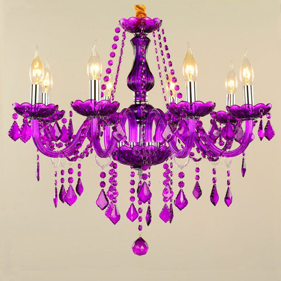 8-Lights Violet Glass Crystal Candle-style Chandelier Up-light Electroplated 110-240V E12-E14