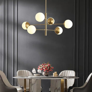 6/8/10 Lights Pure Brass Novelty Sputnik Ball Chandelier Ambient Light Glass Creative E26/E27
