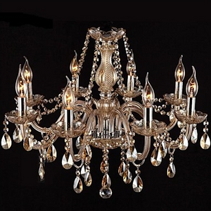8Light Candle-style Chandelier Uplight Glass Crystal E12 - heparts