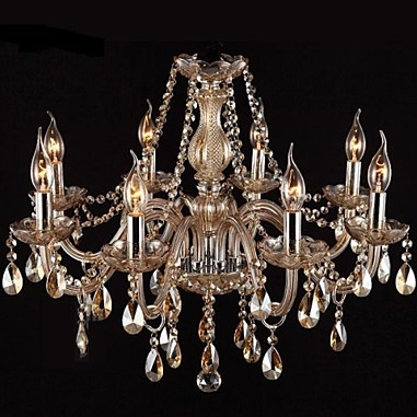 8Light Candle-style Chandelier Uplight Glass Crystal E12