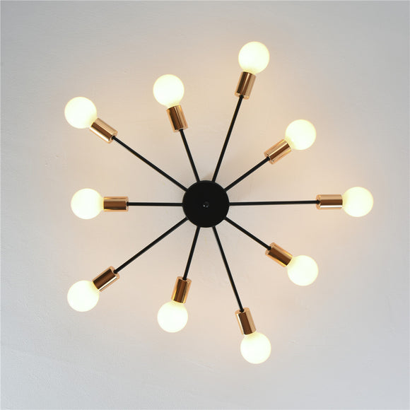 10-lights Vintage Metal Semi Flush Mount Ceiling Light E26/E27 LED