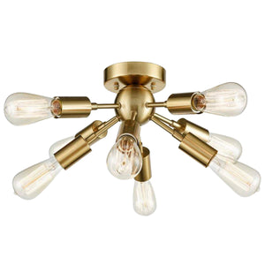 9-Head Vintage Metal Semi Flush Mount Ceiling Light Living Room Dining Room Lighting Gold Finish - heparts