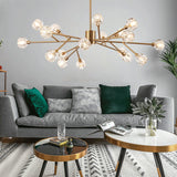 9/12/15/18 Solid Brass Crystal Lights Novelty Sputnik Chandelier Ambient Light Glass Creative Bulb Included G9 - heparts